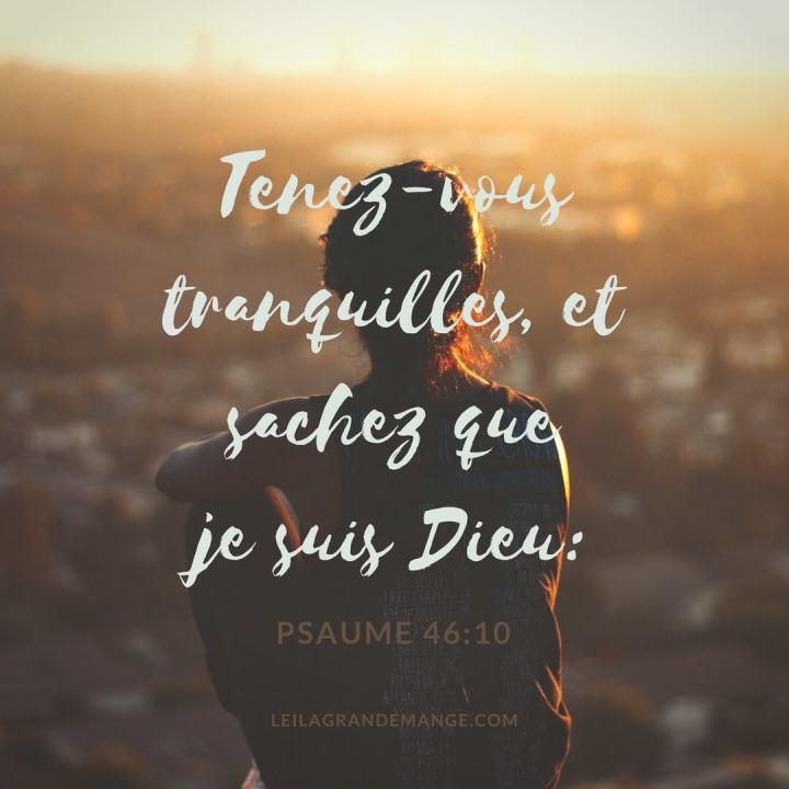 """""""Tenez-vous tranquilles, et sachez que je suis Dieu"""" —Psaume 46:10"""